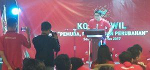 Michael Victor Sianipar saat acara Kopdarwil salah satu partai politik baru di hotel Novotel Jakarta pada Sabtu sore (26/8/2017)